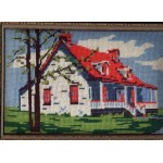 Cross Stitch Framed Matted Country House