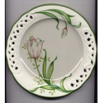 Plates Brunelli Italy Pierced Edge Tulip Pink Green