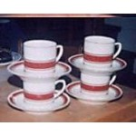Cups Saucers Kun Lun Cream Red Gold Trim