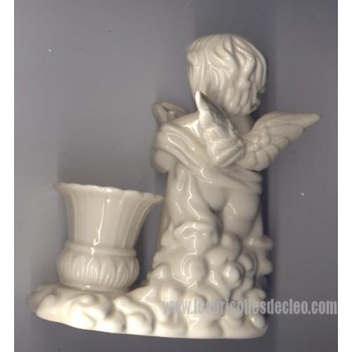 White Ceramic Candle Holder Angel Gift Cherub Les