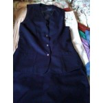 Outfit Suit Vest Long Skirt midnight blue polyester 12
