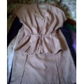 Top and skirt suit beige Lucille Faucher Size 12