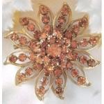 Judy Lee Starburst Amber Rhinestone Brooch Pin