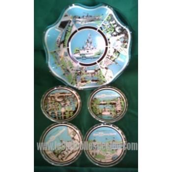 Souvenir Disney World Glass Bowl Coasters Clear