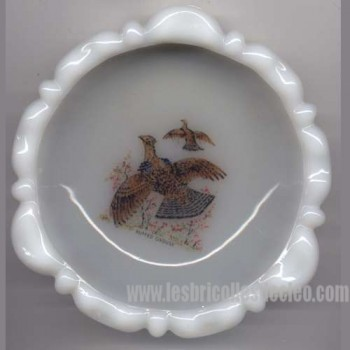 Vintage milkglass ashtray ruffed grouse picture