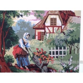 Cross-stitch Framed Matted Wheelbarrow