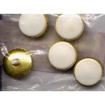 Boutons Blanc Dore Tige 34 Plastique D4415
