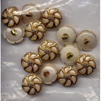 Boutons Blanc Lilas Nacré Or Tige 31 D4417
