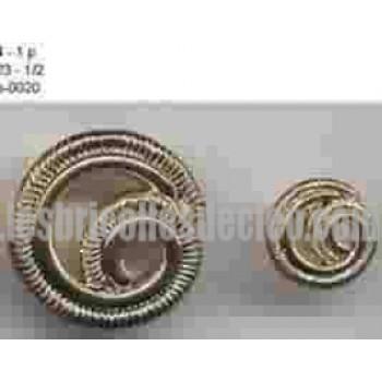 27 Boutons Plastique Tige Spirale Or
