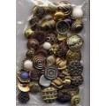 45 Plastic Buttons Shank Gold Silver