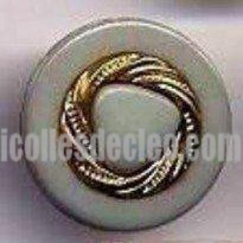 Plastic Buttons Blue-Grey Shank Gold Center