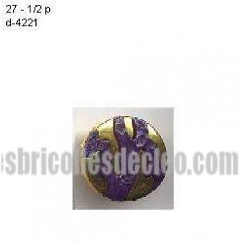 Plastic Shank Buttons Gold Purple Center D4221