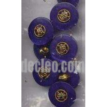 36 Plastic Shank Buttons Gold and Color Center