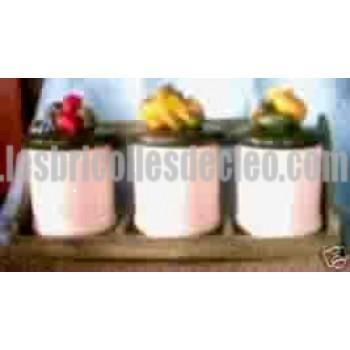 White Ceramic Jars Green Lids Wood Shelf