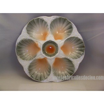 Digoin Sarreguemines Majolica Oyster Plate France