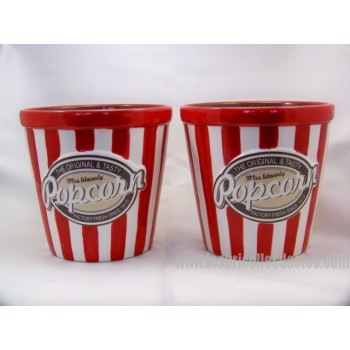 Bowls for Popcorn Ceramic Striped Red White