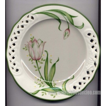Plates Brunelli Italy Pierced Edge Tulip Pink Green 2