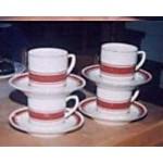 Cups Saucers Kun Lun Cream Red Gold Trim