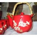 Red Oriental Asian Porcelain Tea Set 6 pieces