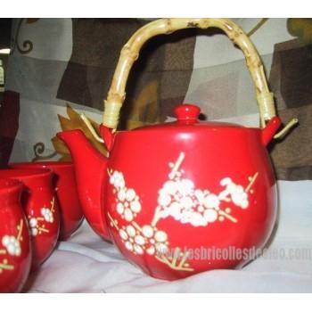 Ensemble Thé Porcelaine Rouge Fleur Blanche Asiatique