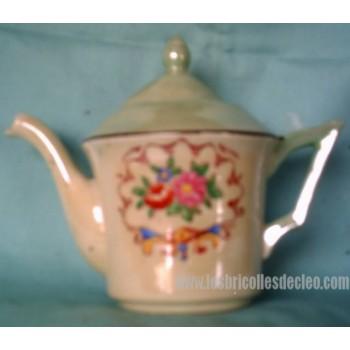 Vintage Green Porcelain Tea Pot Painted Floral