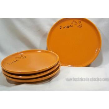 Assiettes Individuelles Fondue Orange Brulé 4
