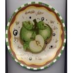 Assiette Décorative Pomme Peinte Mots Carreaux