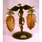 Amber Glass Salt Pepper Shaker Grapes Stand
