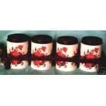 Boîtes Métal Support Plastique Fleurs Rouge