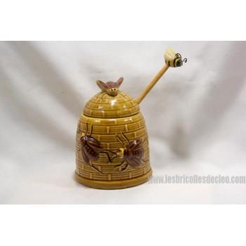Vintage Ceramic Honey Pot Bees Retro