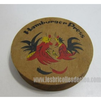 Wooden Hamburger Potatoes Patties Press Rooster