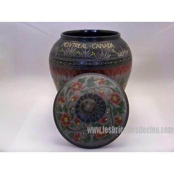 Boîte à Objets Vase Contenant Noir Rond Bois Couvercle