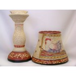 Candle holder lamp with crackle finish rooster picture