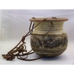 Ceramic Clay Hanging Planter Leather Cord