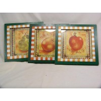 Green Apple Pear Orange Framed Picture Dining-Room Kitchen