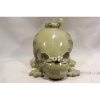 Grey Cat Ceramic Money Box Figurine