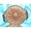 Wicker Rattan Basket Wood Metal Handles