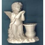 White Ceramic Candle Holder Angel Gift Cherub