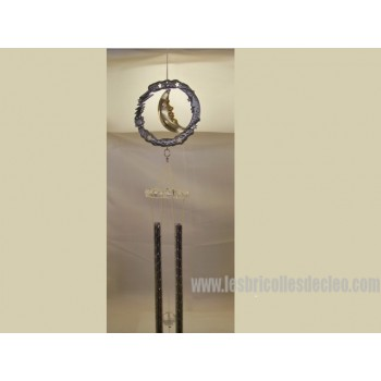Wind Chimes Hanging Metal Glass Crescent Moon