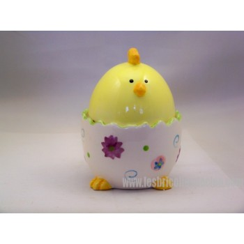 Ceramic Easter Egg Container Yellow Cup Chick