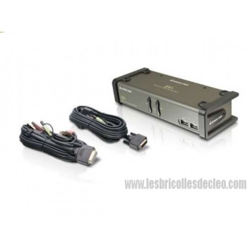 2-Port DVI KVMP Switch with audio and cables