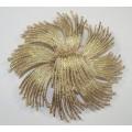 Monet Textured Starbust Design Brooch Gold Pin