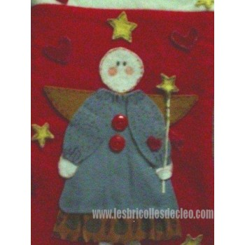 Red Christmas Stocking Handcrafted 3D Angel