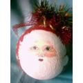 Boule Père Noël Peinte Fait Main Rouge