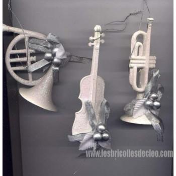 White Christmas Ornaments Vintage Violin