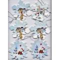 Flocons Blanc Scènes Noël Brillants Dorés
