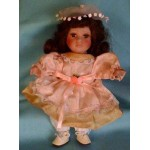 Vintage 9 inches doll peach dress long underwear