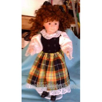 16 inches Doll #721 Plaid Dress Lace Curly hair