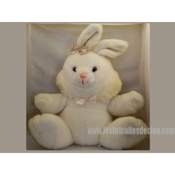 White Stuffed Bunny Padded Animal Easter 17.5""