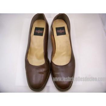 Ladies Block Heel Court Shoes Matte Brown